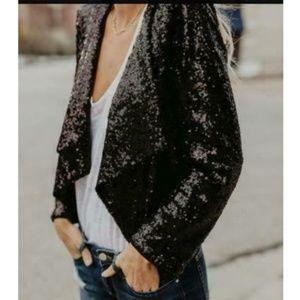 Donna Ricco Sequin Crop Cover Up Black Blazer L
